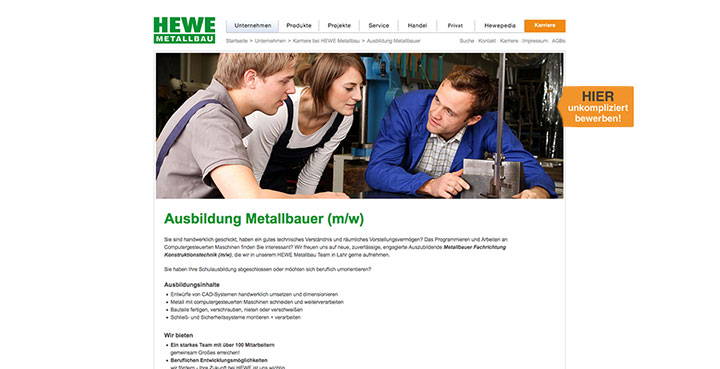 SinusQuadrat Internetagentur Offenubrg macht Online-Marketing Kampagne für Hewe Metallbau in Lahr